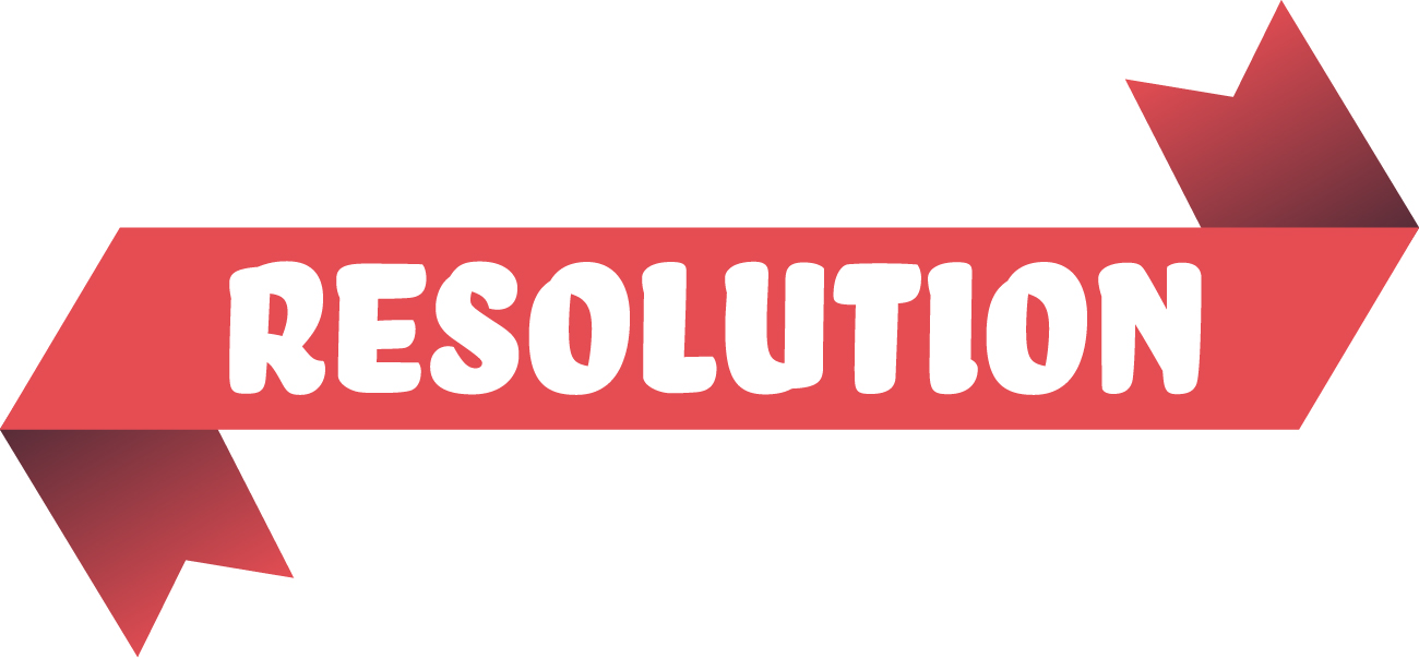"Red ribbon illustration containing the text ""Resolution"""