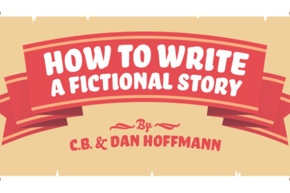 "Illustration of a turn-of-the-century scroll of old paper with a red ribbon containing the title ""How to Write a Fictional Story"" by C.B. & Dan Hoffmann"