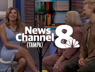 Screenshot of the mother & son self-publishing team of C.B. Hoffmann and Dan Hoffmann on WFLA Tampa TV Channel 8