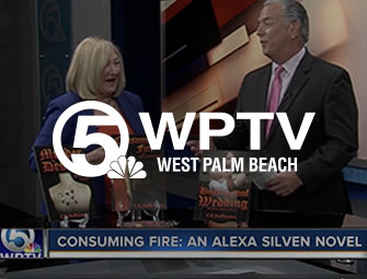 Screenshot of the author, C.B. Hoffmann on WPTV Newschannel 5 West Palm Beach
