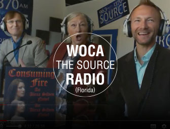 Screenshot of the interview of mother & son self-publishing team, C.B. Hoffmann and Dan Hoffmann on WOCA The Source Radio