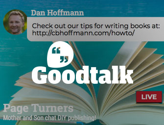 Screenshot of the chat between mother & son self-publishing team of C.B. Hoffmann and Dan Hoffmann on GoodTalk App