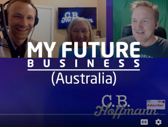 Screenshot of the mother/son self-publishing team of C.B. Hoffmann and Dan Hoffmann on My Future Business Show with Rick Nuske in Austraila