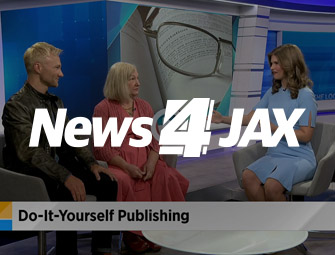 Screenshot of the mother & son self-publishing team of C.B. Hoffmann & Dan Hoffmann on WJXT TV Channel 4 Jacksonville